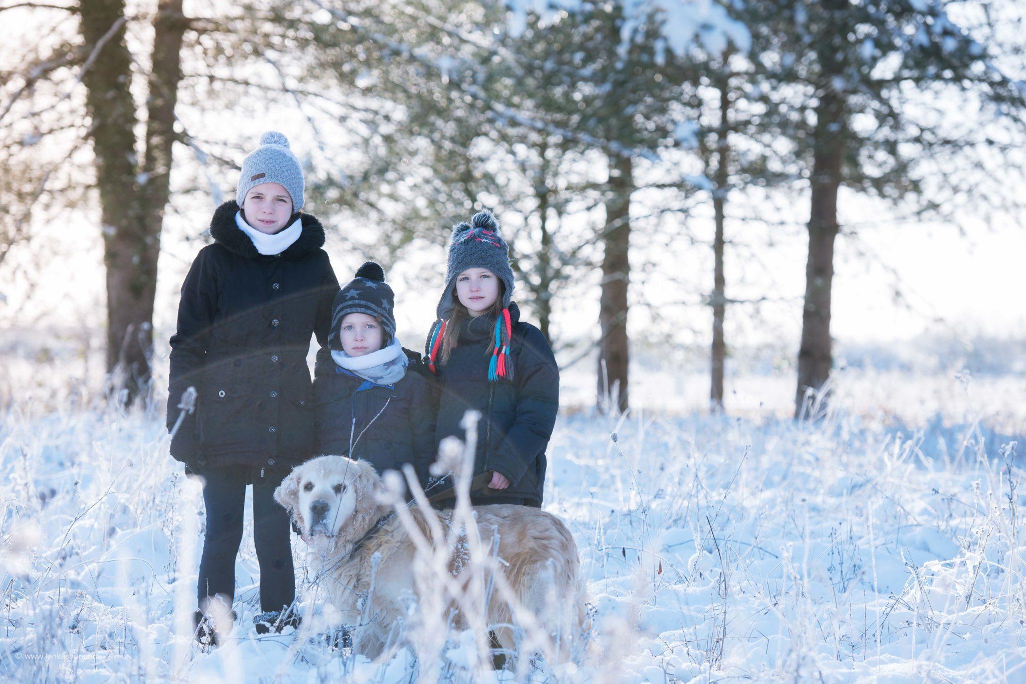 Session photo sous la neige