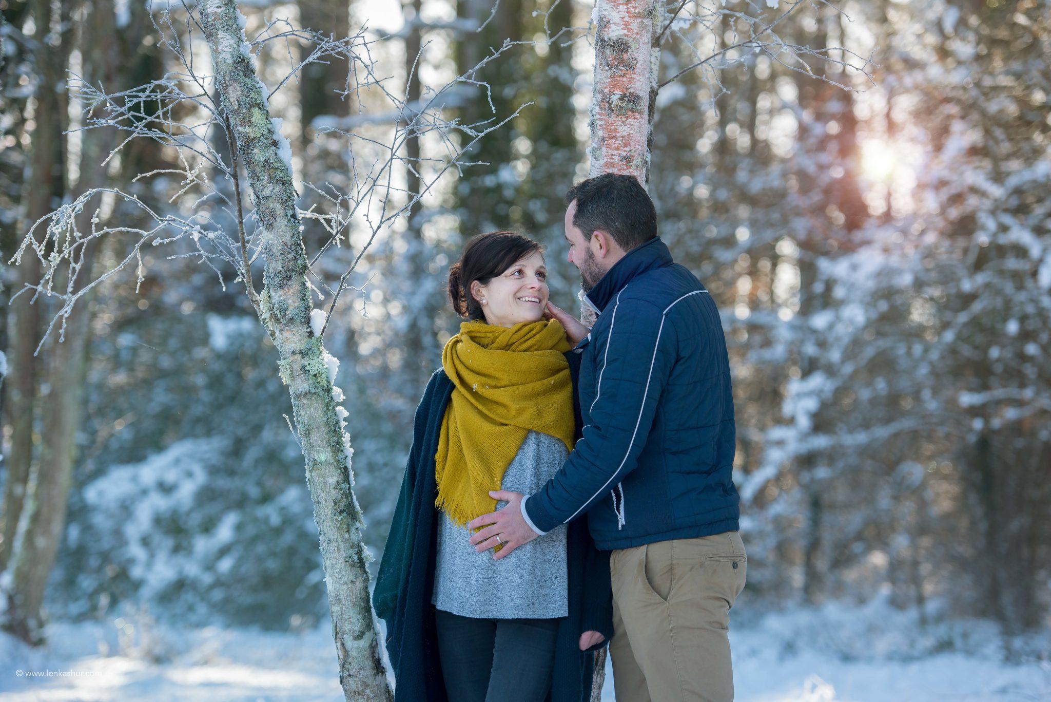 Session grossesse sous la neige